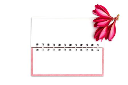 Note book paper with pink frangipani flower Stock Photo - 14601692