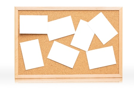 The cork board with blank paper, Isolated on white Stock Photo - 14625452