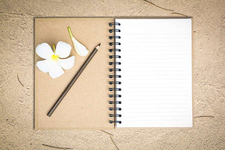 White notebook with white Frangipani flower on the sand photo