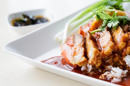 comida: Carne de cerdo y pato crujiente sobre Arroz con salsa Gravy Dulce