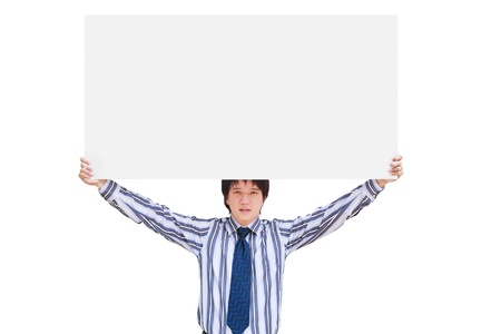 Young business man showing blank signboard, Isolated on white photo