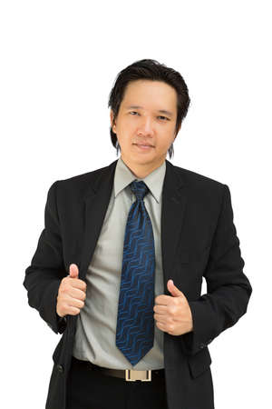 Confident asian business man smiling, Isolated on white Stock Photo - 14719442