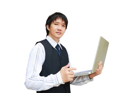 asian laptop: Young business man using laptop, Isolated on white