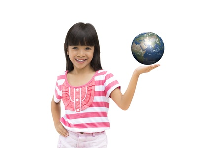 Happy smiling little girl holding earth, Isolated on white Stock Photo - 14719444