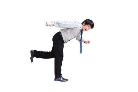Young business man running, Isolated on white with clipping path Stock Photo - 14719449