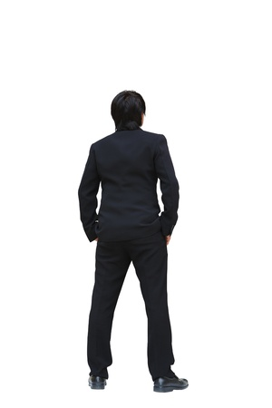 business man from the back looking at something, Isolated on white photo