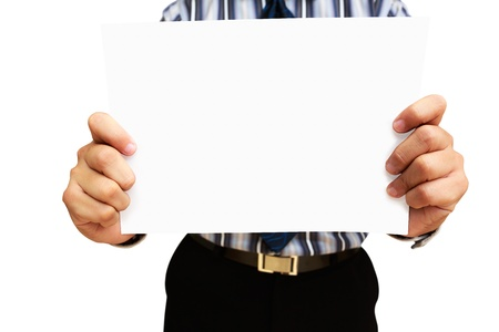 A business man holding blank paper, Isolated on white Stock Photo - 15184194