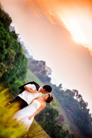 Wedding couple embracing each other moment of joy photo