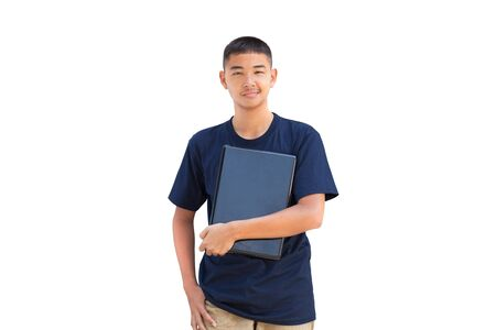 Teenager boy hugging laptop computer, Isolated on white photo