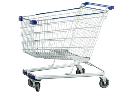 Metal shopping trolley, Isolated on white photo