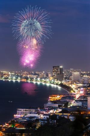 pattaya thailand: Night view and firework at Pattaya city, Thailand Stock Photo