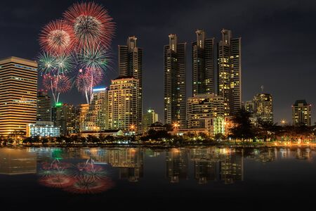Night view and firework at Bangkok, Thailand Stock Photo - 15252189