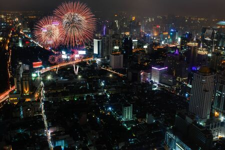 Night view of Bangkok with Fireworks photo