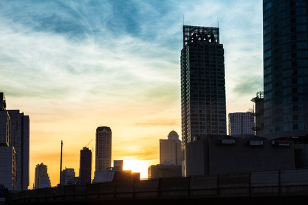 high rise: Beauty sunset in the city