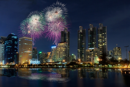 Night view and firework at Bangkok, Thailand photo