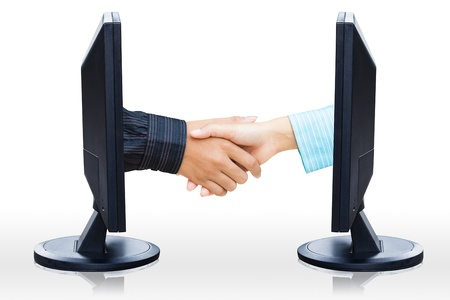 virtual office: Virtual handshake,  Internet business concept