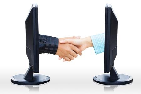 technology agreement: Virtual handshake,  Internet business concept