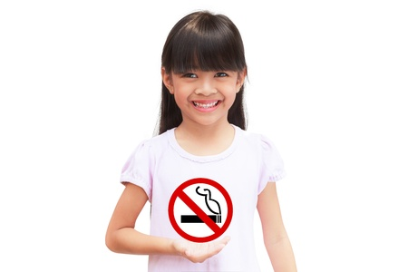 smoking girl: Little girl holding a no smoking sign, Isolated on white Stock Photo