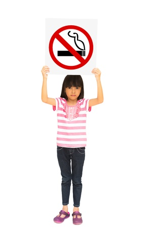 Little girl holding a no smoking sign, Isolated on white photo