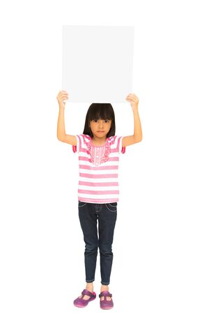 Little girl holding a board, Isolated on white Stock Photo - 15467460