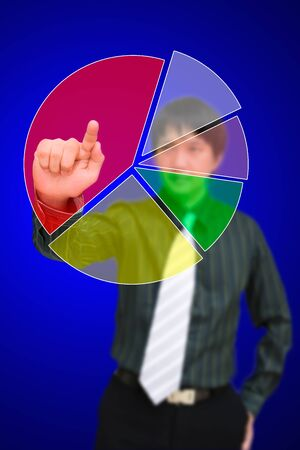 Business man hand press blank of pie chart button photo