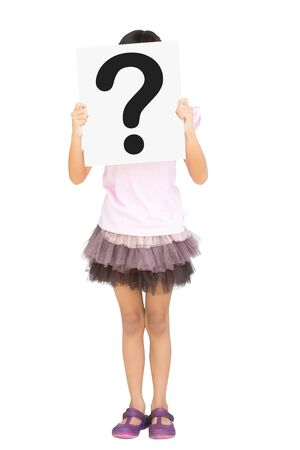 Little girl showing question mark sign on papaer, Isolated on white  photo