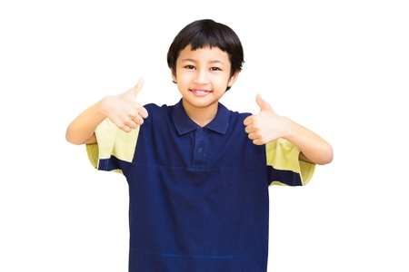 Asian little boy giving you thumbs up, Isolated on white background photo