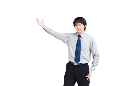 Asian business man giving presentation on white background photo