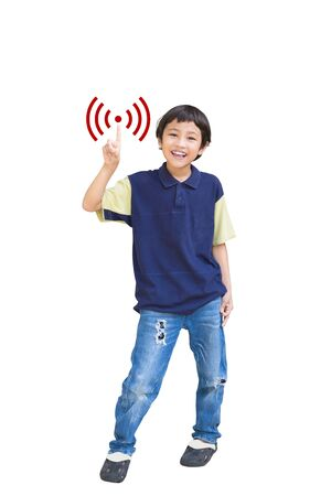 Asian boy with wi-fi symbol, Isolated on white photo