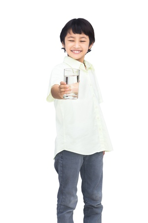 thai boy: Asian Little boy holding glass of water