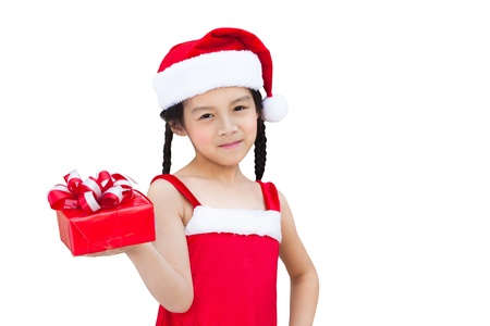 Little girl with christmas gift, Isolated over white Stock Photo - 15870702