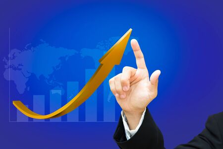Hand of businessman with graph, World map background Stock Photo - 15921782