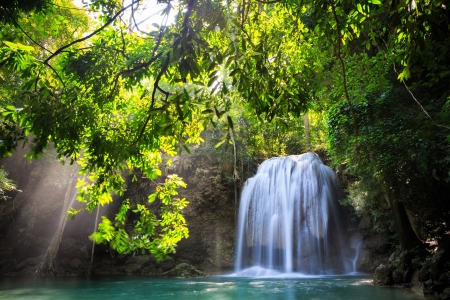 Deep forest Waterfall in Kanchanaburi, Thailand Stock Photo - 16109671