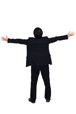 Businessman raising hand, Isolated over white with clipping path photo