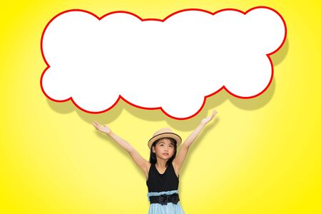Asian young girl hand up in the air with blank think cloud photo