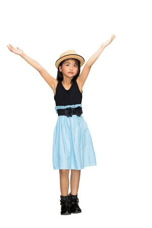 Asian young girl hand up in the air, Isolated over white photo
