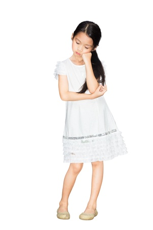 child sad: Portrait of sad little girl, Isolated over white