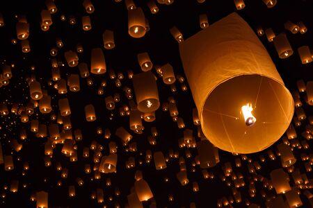 hope symbol of light: Floating lantern, Yi Peng,Firework Festival in Chiangmai Thailand Stock Photo
