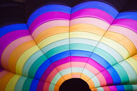 Colorful of hot air balloon inside photo