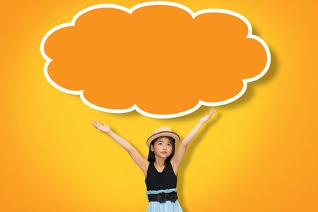 child sitting: Asian young girl hand up in the air with blank think cloud