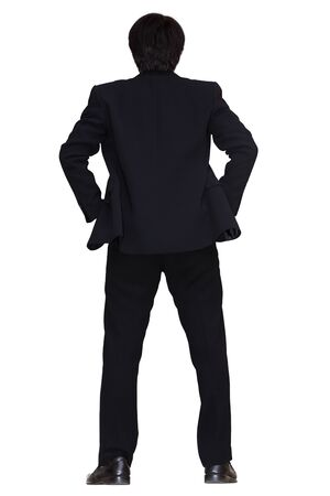 Back view of asian young business man, isolated over white with clipping path Stock Photo - 17277444