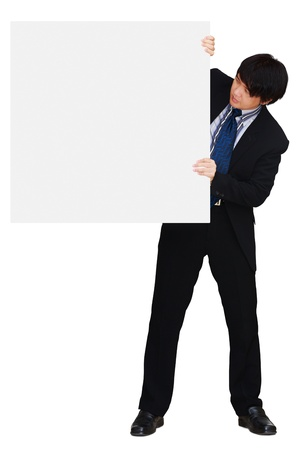 Asian businessman showing blank signboard, isolated over white with clipping path photo