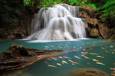 crap: The Huai Mae Khamin Waterfall is one of the most popular places in Kanchanaburi  THAILAND Stock Photo