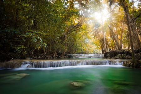 erawan: Erawan Waterfall  Erawan National Park  Kanchanaburi, Thailand Stock Photo