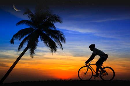 mountain biker: Silhouette Mountain bike rider