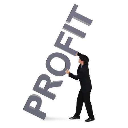 Asian young businessman holding 3D Word  Profit , Isolated over white photo