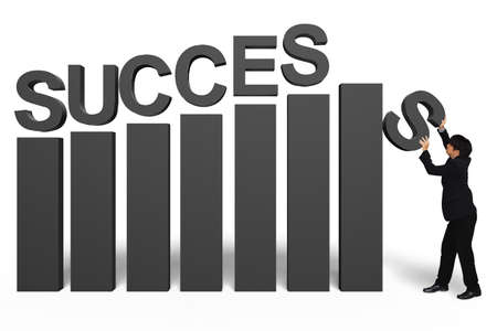 succesful: Young businessman with success 3d text, Isolated over white, Success in business concept