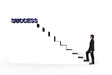 Young businessman walk up to white stair to success 3d text, Business concept photo