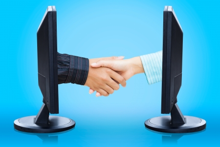 Virtual handshake,  e-business concept photo