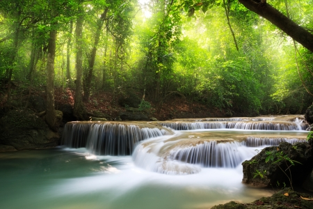 torrent: Erawan Waterfall  Erawan National Park  Kanchanaburi, Thailand Stock Photo